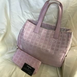 Chanel Pink Travel Line Tote & Pouch
